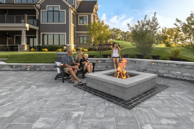 Unilock u-cara wall and firepit with beacon hill smooth patio